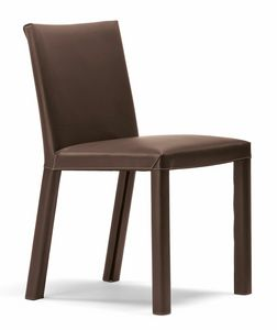 Trama chair 10.0182, Padded chair, with leather upholstery