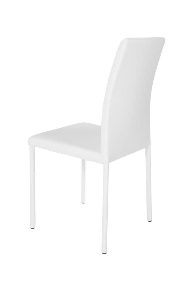 Treviso high, Metal chair with leather covering suited for kitchens and bars