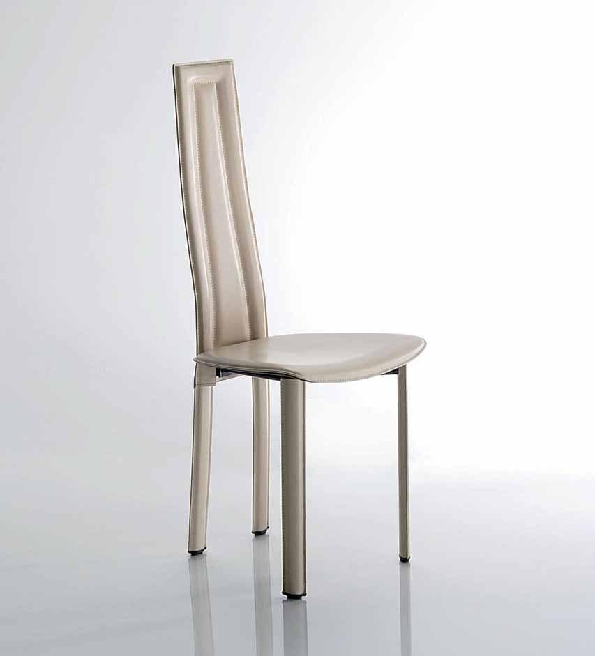 Vegas, Chair with painted steel frame, leather upholstery, available in different colours