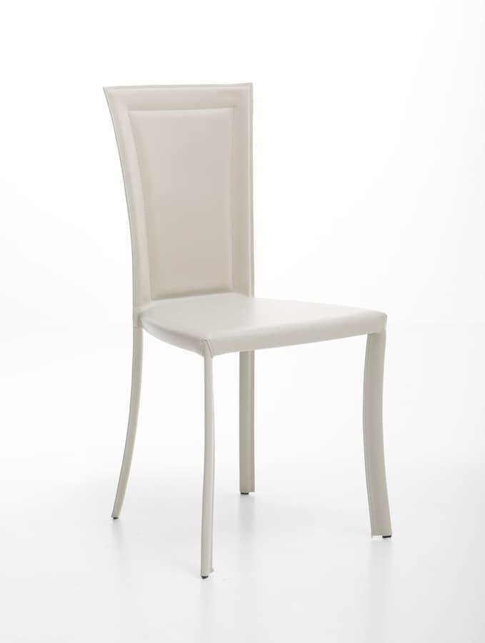 Vela, Leather upholstered chair for elegant bars