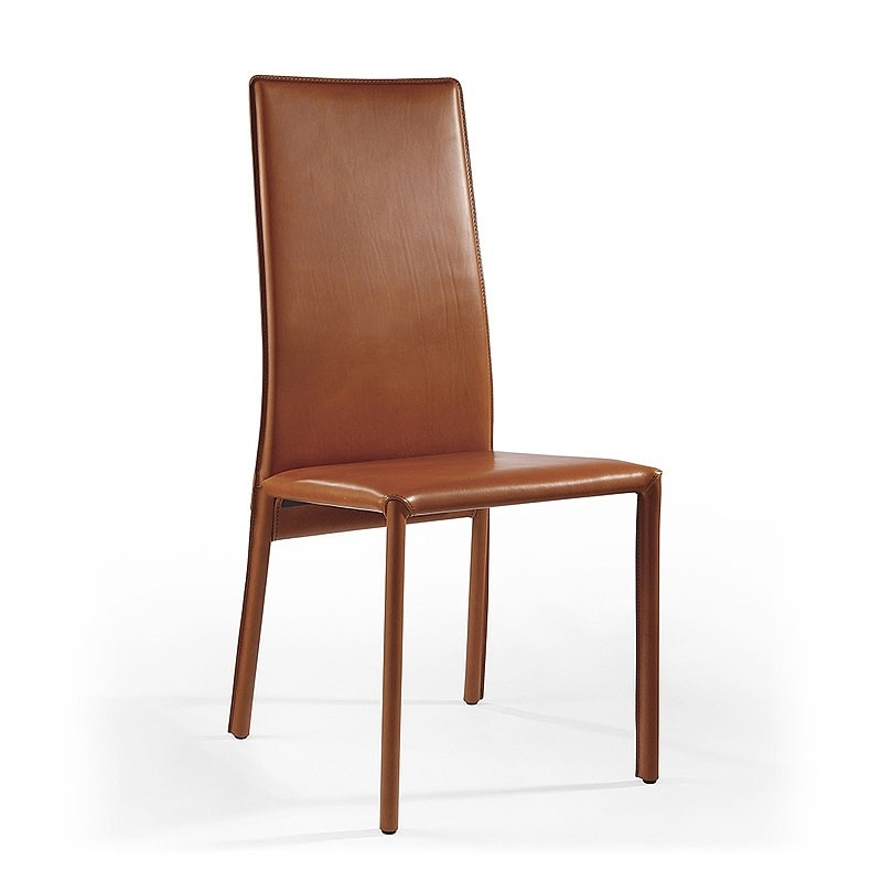 Venere, Modern dining chair, in leather, for meeting room