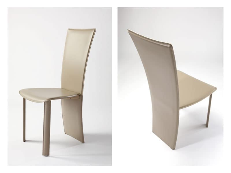 Vento, Leather modern chair, for hotels and dining rooms