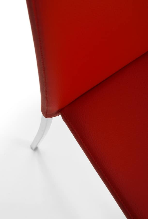 Witty, Steel chair covered in faux leather, stackable