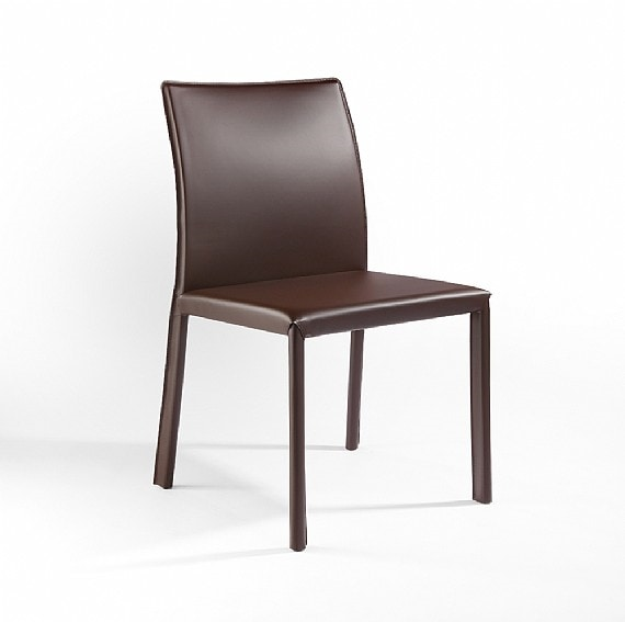XL, Chair in metal, leather covering, for bars and kitchens