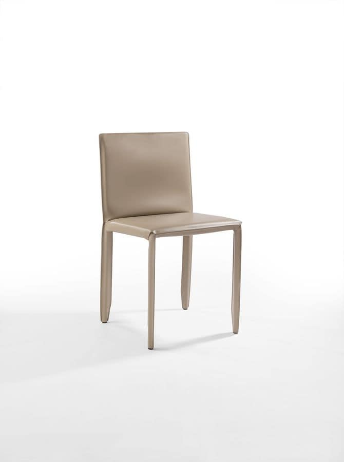 Yuma, Chair in steel and leather, for bar and kitchen