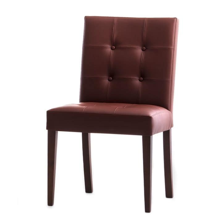 Zenith 01619X, Solid wood chair, upholstered quilted seat and back, leather covering, for dining rooms