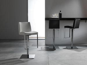 Art. 575 Maxim, Elegant stool with leather seat, adjustable height