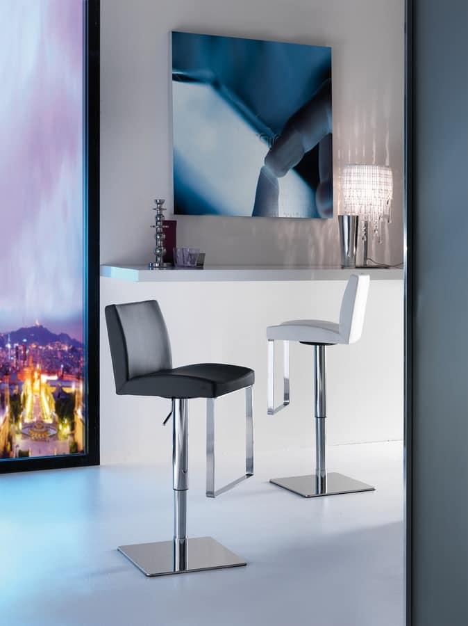 Art. 575 Maxim, Elegant stool with leather seat, adjustable height