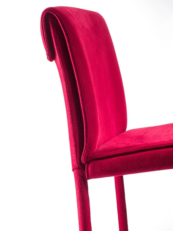 Borso sgabello, Modern stool with double stitching on the backrest