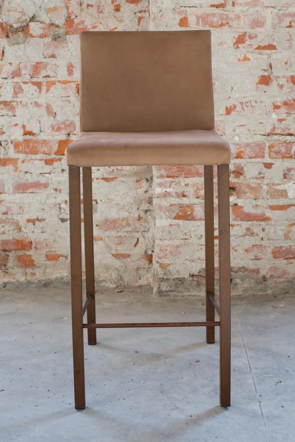 Castelfranco stool, Stool in eco-removable leather, with footstools