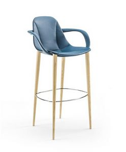 Couture barstool 10.0514, Stool with armrests, covered in leather