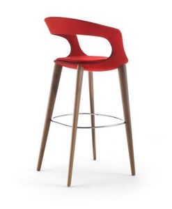 Frenchkiss barstool 10.0414, Modern stool, with legs in walnut or ash wood