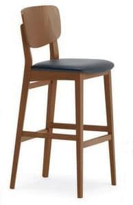 Gianna SG, Barstool in solid wood, padded sedura, for bars and restaurants