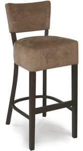 Portocervo SG, Padded stool in wood, faux leather coated