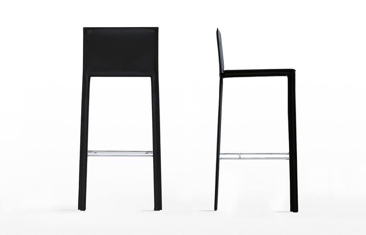 Slim Stool, Minimalist leather stool, with chrome footrest