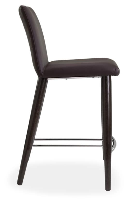 Xelle SGFW, Stool with base in oak and genuine leather seat