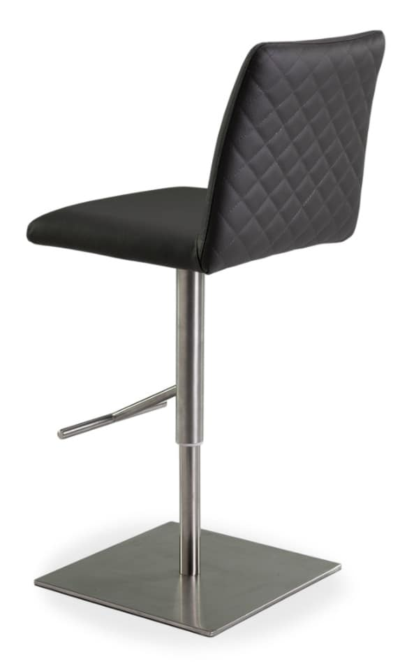 Xelle SGT, Adjustable stool with a square base, covered with leather
