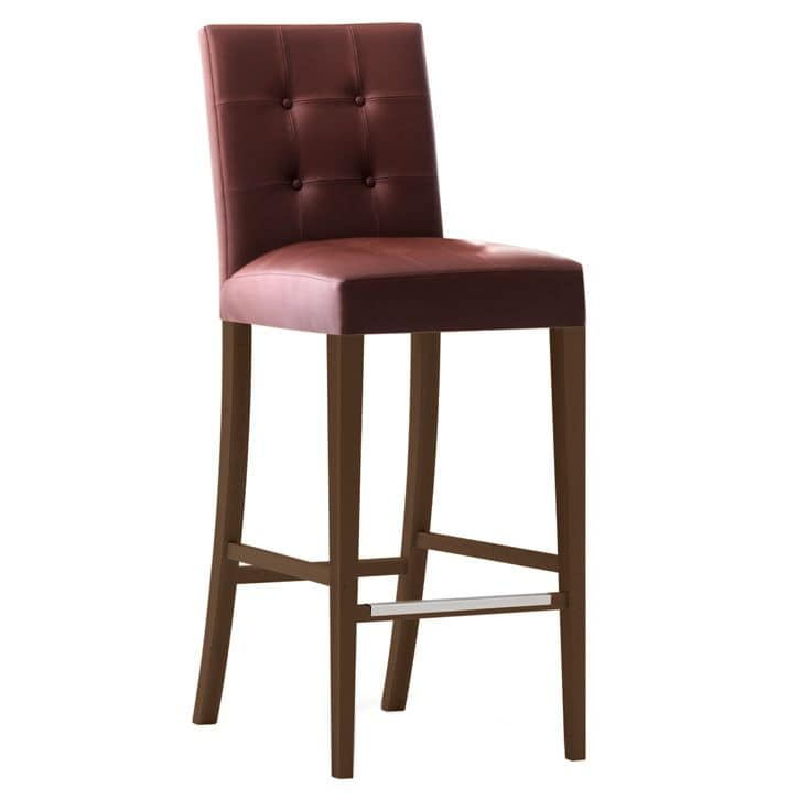 Zenith 01689X - 01699X, Barstool in solid wood, upholstered seat and back, leather covering, capitonnè backrest, footrest in steel, for contract and domestic use