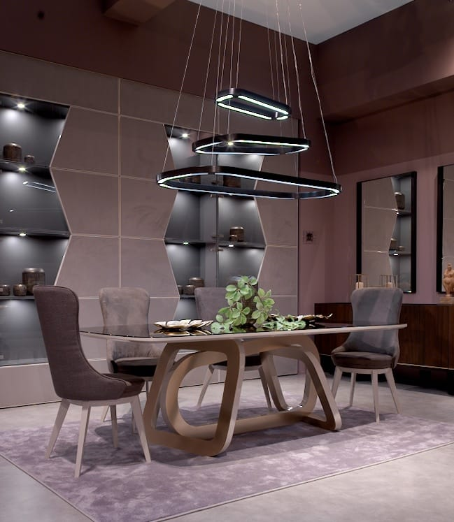 Loop Art. 1483, LED chandelier, with sinuous design