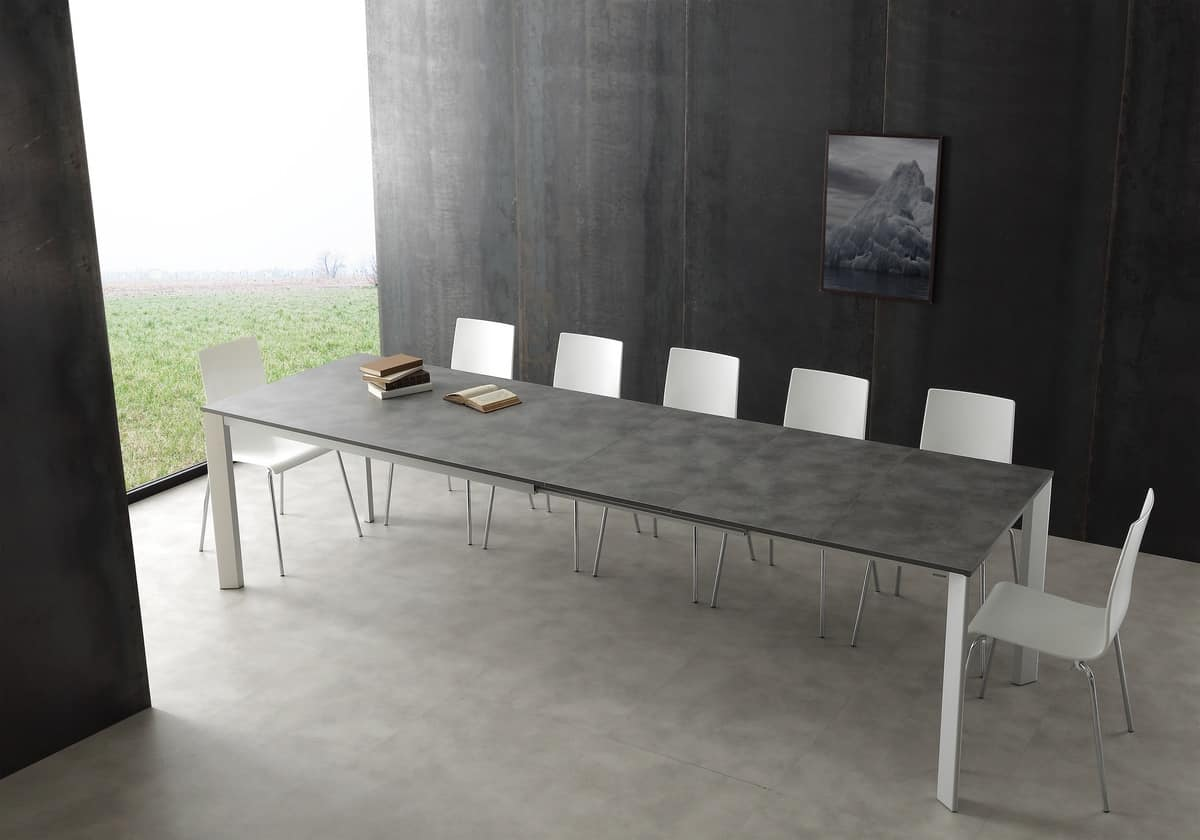 Art. 626 Tecno, Telescopic aluminum table, with top in melamine