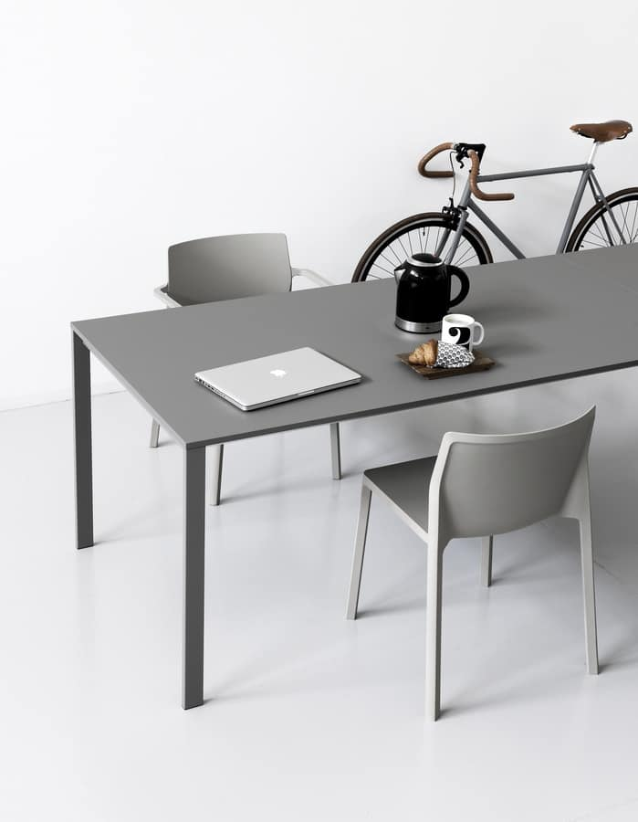 Be Easy, Extendable Table In Minimalist Style, With Top Made Of Fenix