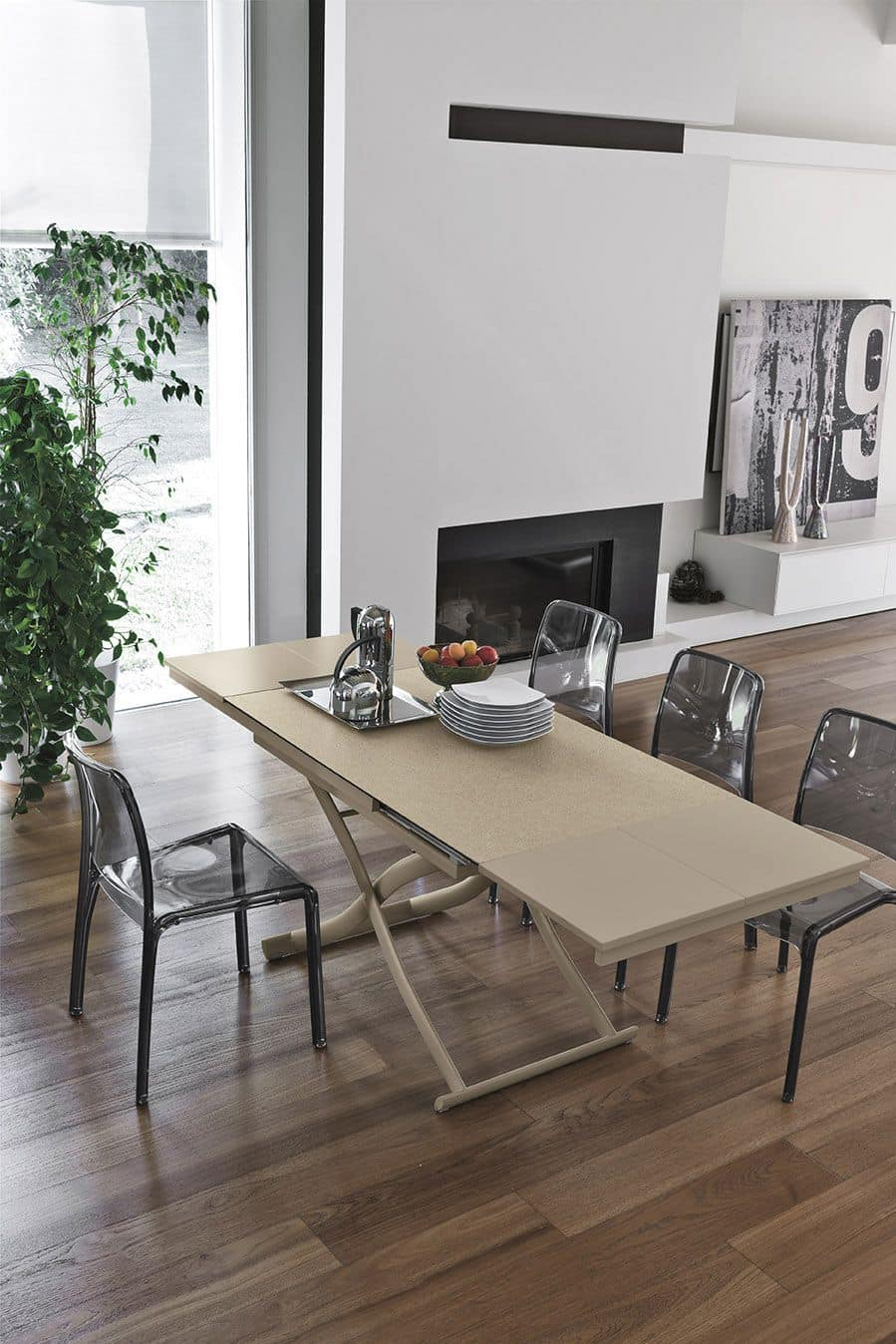 DIONE PLUS TA150, Modern consolle transformable into table, top in glass