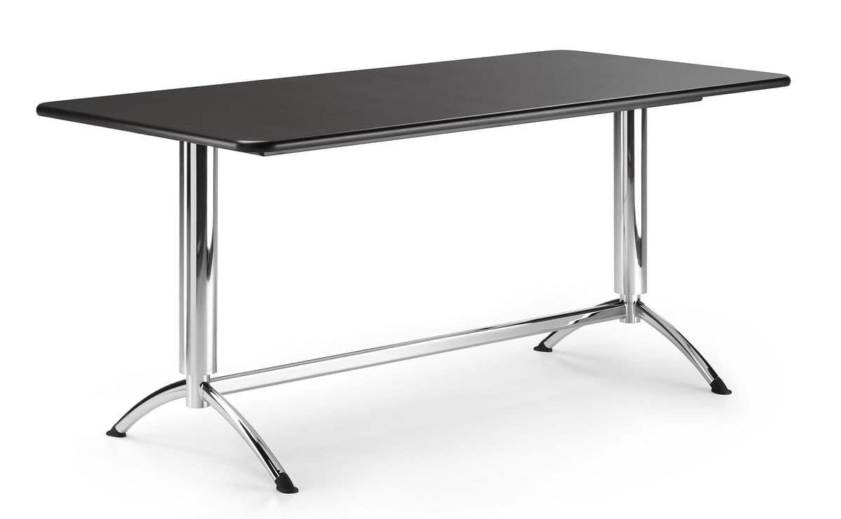 KOMBY 945, Rectangular table with chrome metal base