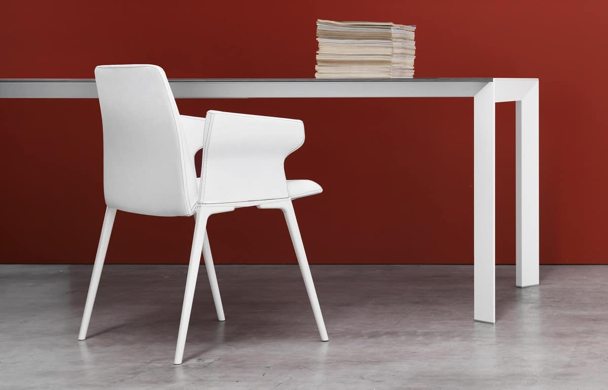 Nori, Extendable table with aluminum legs, for office