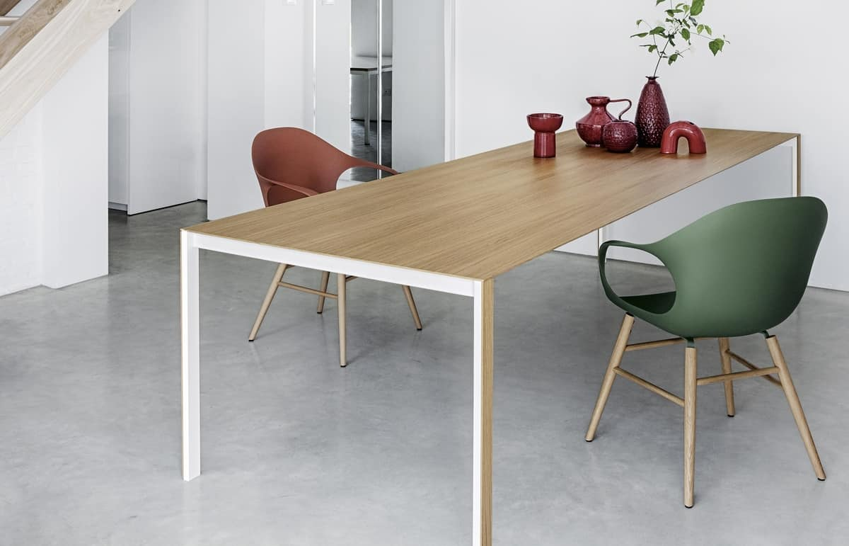 Thin-k Longo, Design table, with thin and extended top, for office