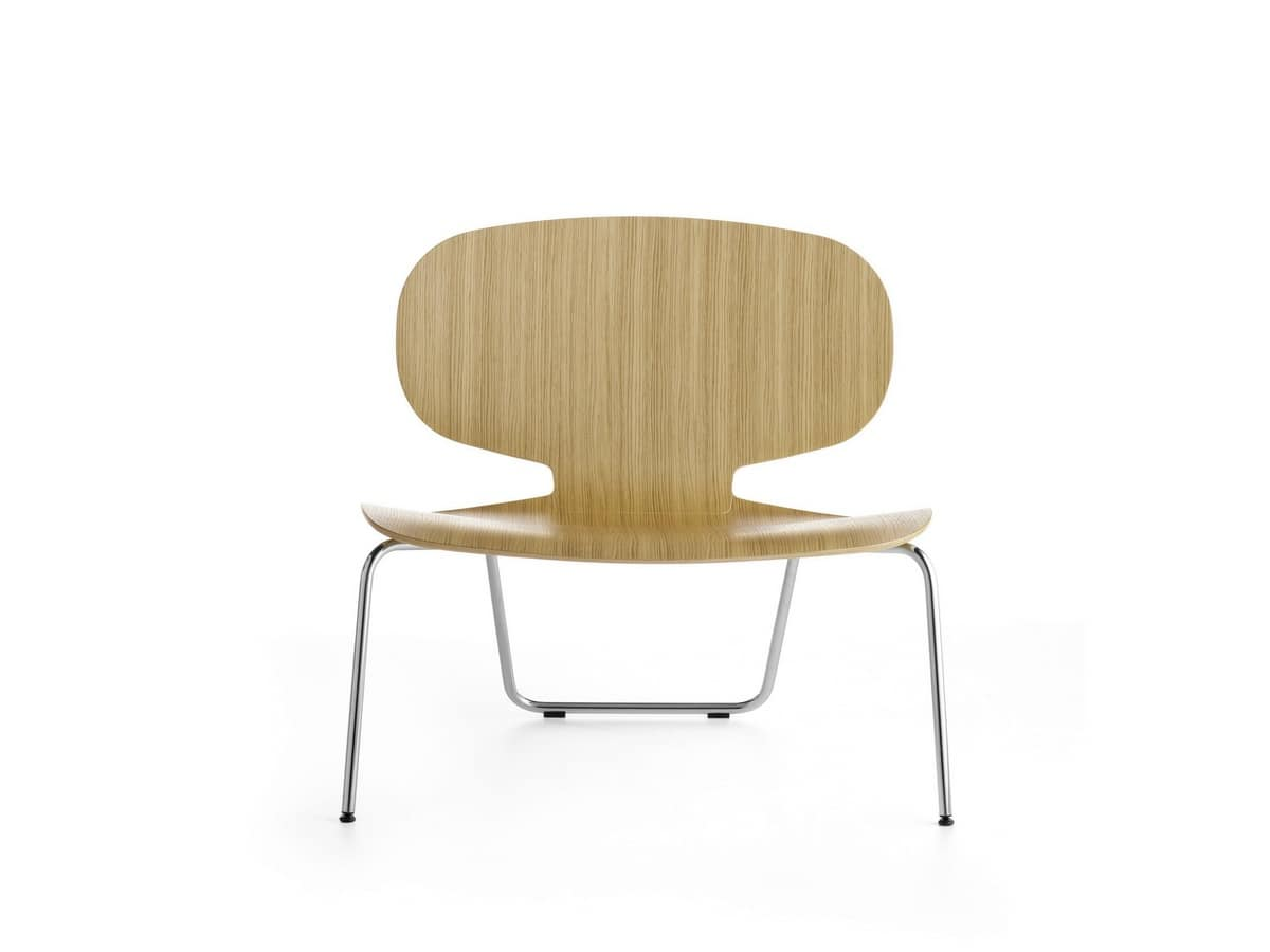 Alis XXL VS, Chair with wide seat in plywood, for waiting room