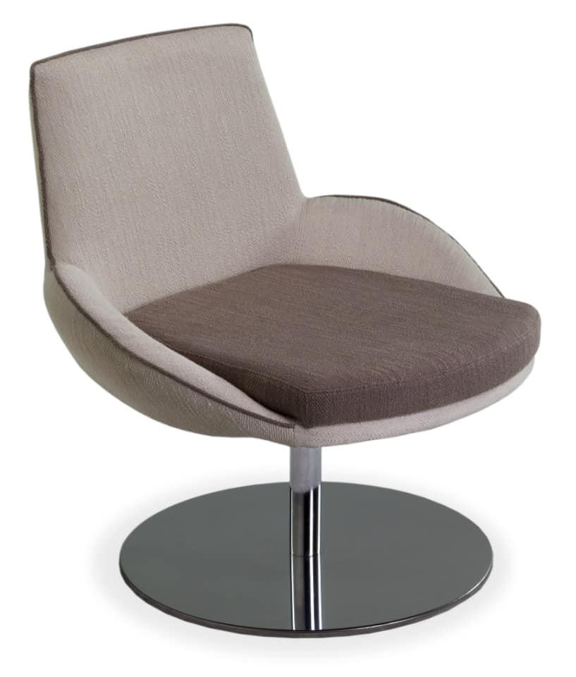 Baxi GL Lounge, Lounge chair with round chrome metal base