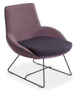 Baxi L, Lounge chair with sled base in metal rod