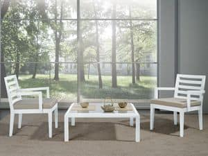 Complements Chair 06, Chair with wide seat and armrests, for modern living room