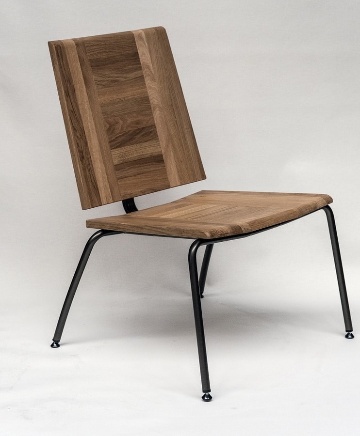EAGLE A04, Lounge chair in metal and oak