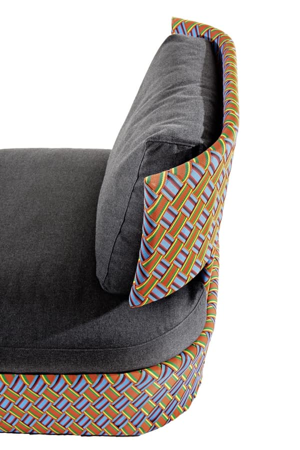 Kente lounge, Lounge armchair, with multicolored weaving, for outdoor use