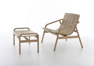 Loungette, Outdoor lounge chair, in beech wood and polyurethane
