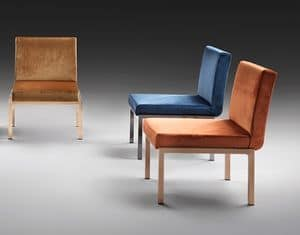 Mod�, Padded chair with wide seat, steel base