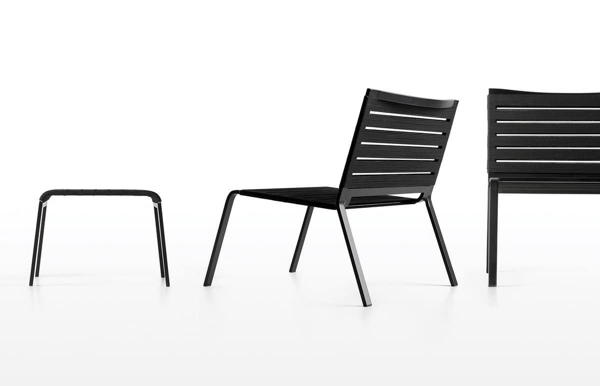 Rest Lounge, Outdoor lounge chair in aluminum and polyester