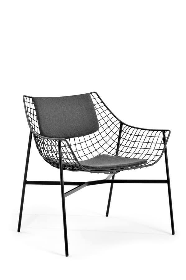 Summer set lounge armchair, Lounge armchair, in steel rod, padded, for outdoors
