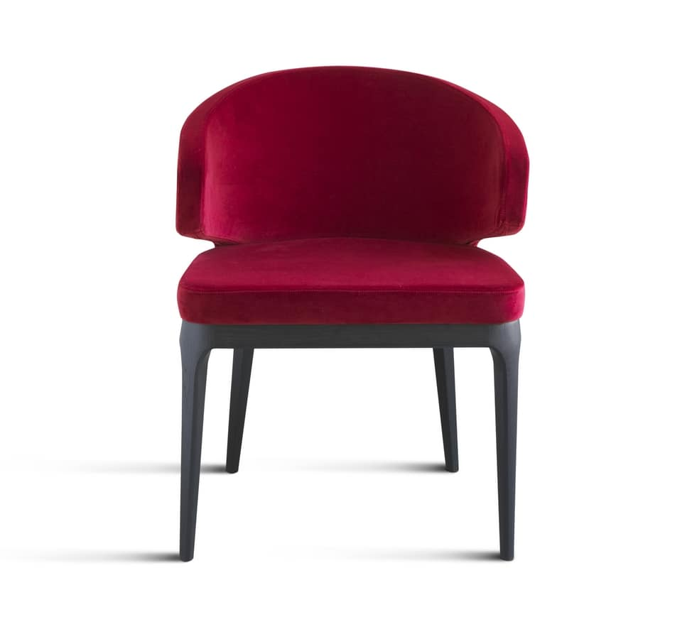 ART. 307 VIRGINIA, Lounge chair, upholstered with solid wood legs