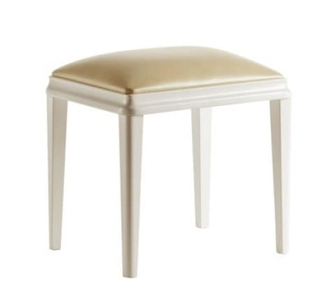 Art. VL729, Upholstered low stool, in wood, for hotels