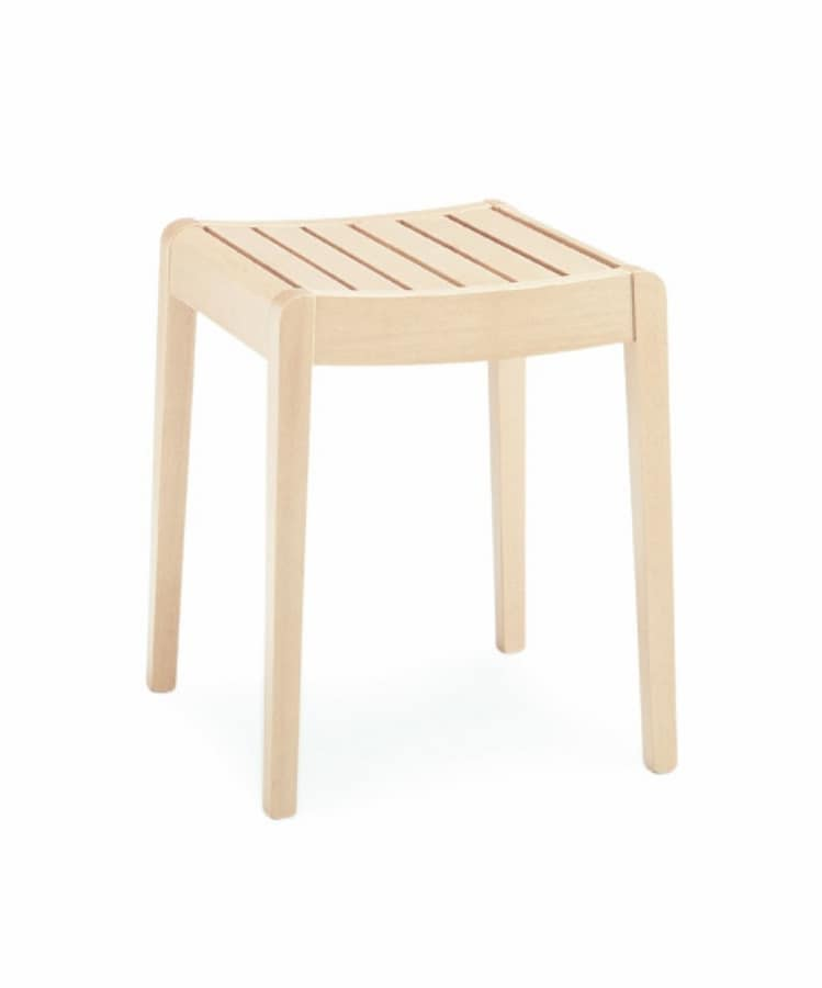 Milo low, Low stool in beech, ideal for kitchen and bar