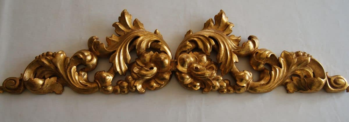 Frieze ART. AC 0031, Decorative frieze in gilded wood, with flower patterns