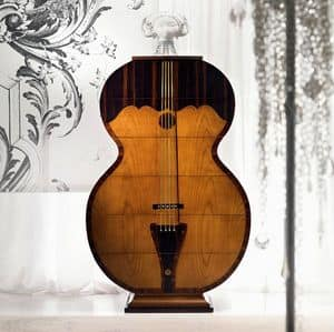 MB37 Pois, Cabinet container, in the form of double bass, in wood