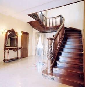 Wooden Stairs, Staircase in wood, handmade carvings and decorations