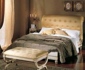 3295 BED, Bed with upholstered tufted head, cracrè finish