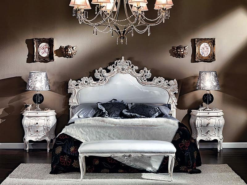 3445 BED, Carved upholstered bed, covered with imitation leather