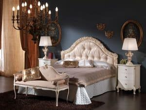 3515 BED, Bed with upholstered headboard ideal for classic bedrooms