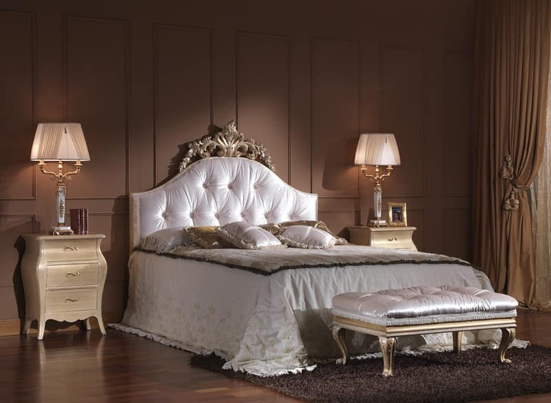 713 BED, Luxury classic double bed with headboard tufted