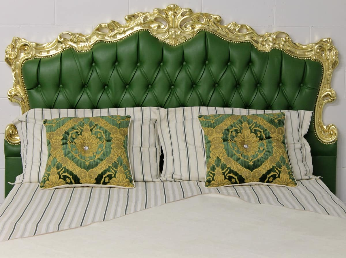 Angela bed, Classic double bed with upholstered headboard tufted finish